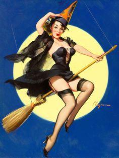 Pin Up Vintage, Photo Vintage, Art Vintage, Retro Pin Up, Vintage Cartoon, Vintage Style, Vintage Witch Photos, Vintage Fashion, Halloween Pin Up