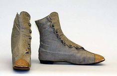 Shoes 1860, American or European, Made of linen
