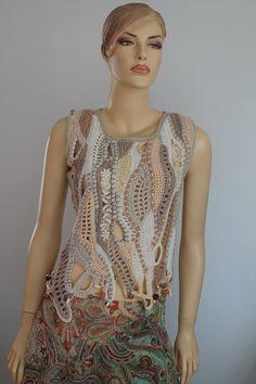Boho Chic Hippie Chunky Freeform Crochet Vest - Sweater- Cardigan - Wearable Art - OOAK - ready to ship