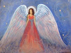 Original Acrylic Painting Healing Energy Angel 9 x 12 by BrydenArt