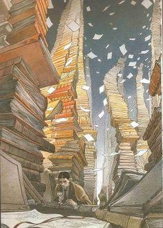 muntanyes de llibres.