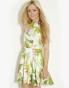 Love Leaf Print Skater Dress | BANK Fashion