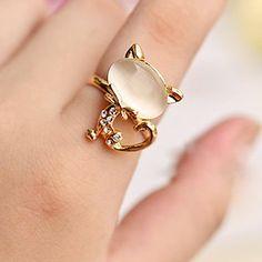 Lureme Opal Head Cat Adjustable Ring – USD $ 2.99