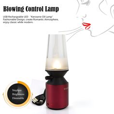 ShineMeDimmable Aluminum Alloy Blowing Control Lamp-USB Rechargeable Cordless Festival Celebration LED Light Candle Kerosene Oil Key for Reading Vintage Christmas Romantic Dinner Camping (Red) => A special product just for you. See it now! : Christmas Decorations