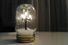 Dollhouse, Train, or Village Light Snow-globe Miniature in Mason Jar