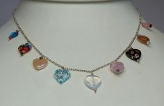 A 9 heart glass/stone necklace