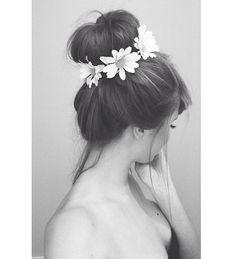 Love the hair, flower bun.