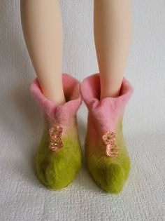 "OOAK Felted Boots ""Spring Fairy"" for Minifee and dolls MSD format - Minifee boots - MSD shoes by Valyashki on Etsy"