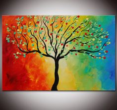 Original Colorful Rainbow Tree Painting, Textured,abstract painting, textured tree, large painting, Colorful painting by Helen on Etsy, $225.00