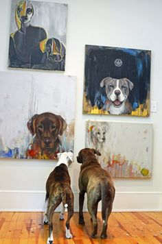 Heather & Jeff's Art (and Dog) Friendly Modern Eclectic-dogs looking at each others portraits. I love this!