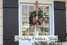 Window with fresh wreath and black board and batten shutters Christmas Wreaths For Windows, Office Christmas Decorations, Xmas Wreaths, Christmas Porch, All Things Christmas, Christmas Holidays, Holiday Decor, Prim Christmas, Antique Christmas