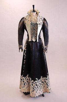 black satin and cream lace evening gown, circa 1890