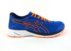 Asics men's DynaFlyte running shoes sneakers trainers Electric Blue Hot Orange #ASICS #RunningCrossTraining