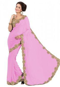 Buy Attractive Pink Georgette Saree Online at