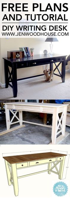 How to build a DIY writing desk. Free plans and tutorial. Looks pretty easy to build! #DIY #desk #homeoffice #freeplans #tutorial #howto #writingdesk #buildit