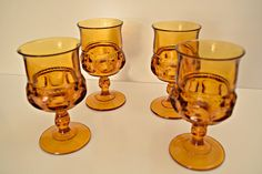 Check out this item in my Etsy shop https://www.etsy.com/listing/217442073/vintage-indiana-glass-amber-goblets-6-oz