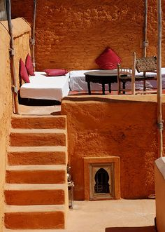 Morocco. i like the basic idea of elevating a place outdoors maybe in a back corner so kids can have some space