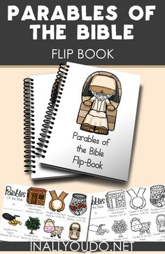 This fun mini flip book is perfect for any Sunday School or preschool class to reinforce 7 different Parables of the Bible. Kids Sunday School Lessons, Sunday School Crafts For Kids, Bible Crafts For Kids, Bible Study For Kids, Sunday School Activities, Preschool Bible, Bible Lessons For Kids, Bible Activities, Preschool Class