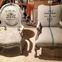 mix 50% chalkpaint with 50% water for painting upholstery...ASCP used here