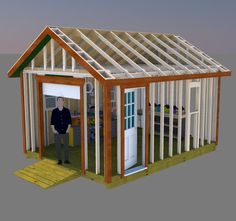Build your perfect workshop with these 12x16 gable shed plans with roll up shed door and pre-hung side entry door. Unclutter your garage and have fun building your projects in this neat shed.