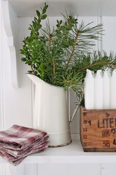 I have 2 white jugs - why don't I put greens in them like this?! So simple and pretty!  VIBEKE DESIGN