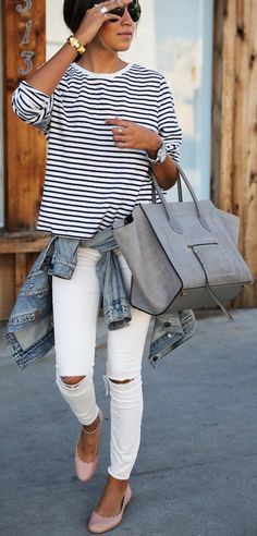 Not a fan of the shoes, but I love everything about this cute casual outfit. Ripped white skinny jeans, stripped shirt, classic denim jacket, and grey Rebecca Minkoff bag