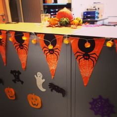 Office Decorations Using Mini Lanterns Pumpkins And Rechargeable Tea Lights