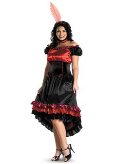 This Plus Size Can Can Costume is makes a great western saloon girl costume for plus size women. Get it for a great showgirl look!
