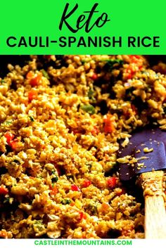 Spanish Riced Cauliflower - Easy 10 Minute Mexican Side Dish. This quick side features the flavors of Mexico while still being low carb. Perfect for taco night and may turn you into a cauliflower lover. Taco Side Dishes, Mexican Side Dishes, Cauliflower Side Dish, Riced Cauliflower, Grilled Avocado, Mexican Food Recipes, Ethnic Recipes, Spanish Rice, No Calorie Foods