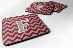 Letter F Chevron Crimson and Grey Foam Coaster Set of 4 CJ1043-FFC