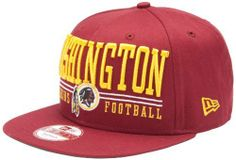 NFL Unisex Adult Washington Redskins Lateral Snapback Cap (Red, One Size Fits All) by New Era. $22.47. Official Licensed Product. Adjustable. Snap Back. Brand New Item with Tags. 100% Cotton. The Lateral Snap Is A New Era® 9Fifty™ Snapback Cap Featuring Retro NFL City And Team Logos.  The Cap Has An Embroidered (Raised) City Name And Team Logo On The Front, And A Stitched New Era® Flag At Wearer's Left Side.