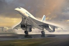 Air France Concorde The graceful Concorde airliner about to lift off from a wet airport runway. Commercial Plane, Commercial Aircraft, Air France, Civil Aviation, Aviation Art, Concorde, Concord Plane, Air Inter, Aeropostale
