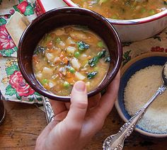Umbrian Vegetable Soup by saveur: Unlike in a classic minestrone, the vegetables in this dish are cooked quickly to preserve their bright flavor. The recipe is based on one in Lidia Cooks from the Heart of Italy by Lidia Bastianich (Knopf, 2009) #Soup #Vegetable #Umbrian #Lidia_Bastianich #saveur
