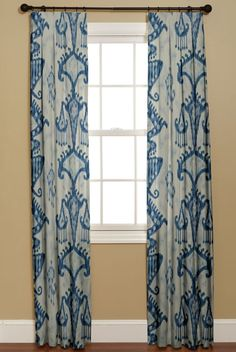 Khandar Indigo from Robert Allen Curtains With Blinds, Panel Curtains, Ikat Curtains, Drapery, Free Interior Design, Interior Design Services, Azul Anil, Cottage Dining Rooms, Living Room