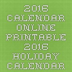2016 Calendar Online - Printable 2016 Holiday Calendar