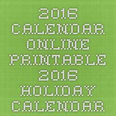 2016 Calendar Online - Printable 2016 Holiday Calendar