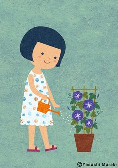 Cute illustration of a girl watering flowers. Simple Illustration, Illustration Mignonne, Japanese Illustration, Illustration Girl, Children's Book Illustration, Character Illustration, Book Design Graphique, Illustration Design Graphique, Design Poster