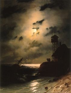 Ivan Aivazovsky // Moonlit Seascape With Shipwreck. Love the moonlight and cloud detail. Art Beauté, Illustration Art, Illustrations, Shipwreck, Nocturne, Fine Art, Art Plastique, Les Oeuvres, Painting & Drawing