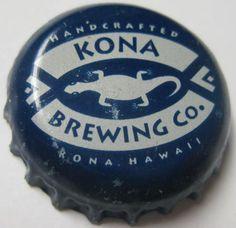 KONA BREWING CO, KOA, WARRIOR, blue Beer CROWN, Bottle Cap w/ Gecko, HAWAII