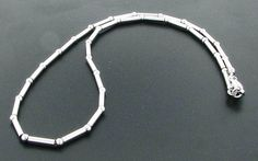 Sterling Silver 16.5 inch Italian Bead and Bar Beaded Necklace #BeadedNecklace
