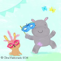 Happy masked hippo © Gina Maldonado 2014 http://gigilikestodraw.blogspot.hk