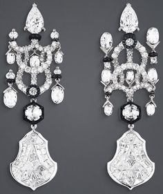 """DIOR. """"Salon de Mars Glace"""" earrings in white gold, scorched silver, platinum…"""