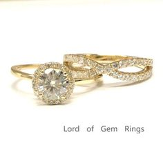 Round Moissanite Engagement Ring Sets Pave Diamond  Wedding 14K Yellow Gold 6.5mm - Lord of Gem Rings - 1
