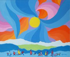 The Day of the Bright Sun by Edward Hardy (Ted) Harrison CM OBC RCA presented by Hambleton Galleries Winter Art Projects, Projects For Kids, Popular Artists, Famous Artists, Ted, Artwork Display, Canadian Artists, Painting & Drawing, Art For Kids