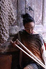 Size 50 32'' knitting needles, alpaca throw made with Loopy Mango Big Loop yarn, Sol Degrade knitted dress.