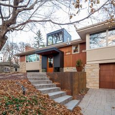 Split level remodel exterior before and after garage New Ideas Home Exterior Makeover, Exterior Remodel, Exterior House Colors, Exterior Design, Exterior Paint, Midcentury Modern, Minneapolis, Split Level Exterior, Raised Ranch Remodel