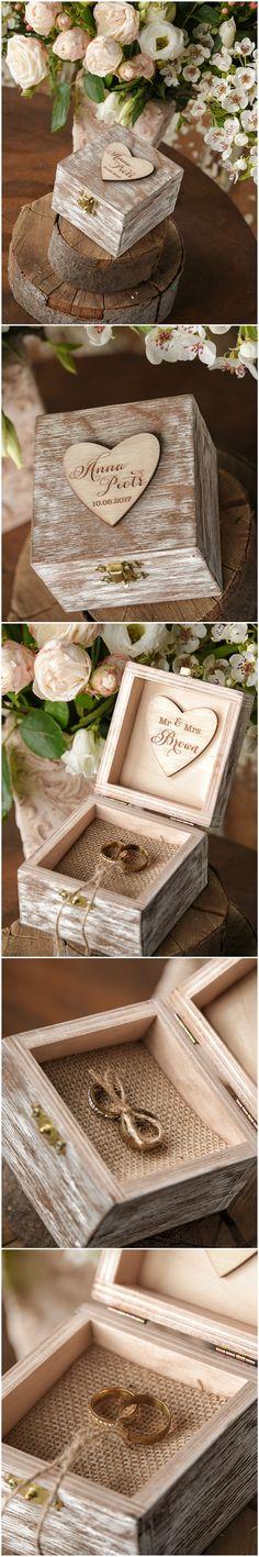 Beautiful Wooden Wedding Ring Box #romantic #rustic #weddingringbox #weddingring #wood #handmade #engraved