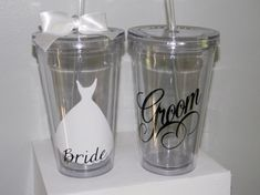 Personalized Wedding Tumblers Bride Groom Bridesmaid Gift Flower Girl Ring Bearer- Any Color Any Design Custom via Etsy