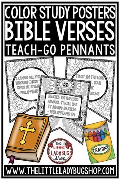You will love these Bible Verse Coloring Posters Teach-GO Pennants™. These are perfect for having your students focus on a weekly bible verse. Just Print & Go with these Bible Verse Reflection to color and reflect with some of the most important bible verses to teach young children in 2nd grade, 3rd grade, 4th grade and older. Also perfect for home schooling classrooms. #biblelessonsforkids #bibleactivitiesforkids #religionlessons #biblecraft