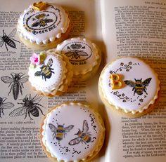 Stamped & hand painted bee cookies by nice icing, via Flickr